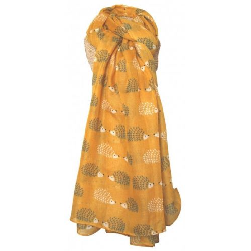 Lua Designs Hedgehog Print Scarf in Mustard Yellow